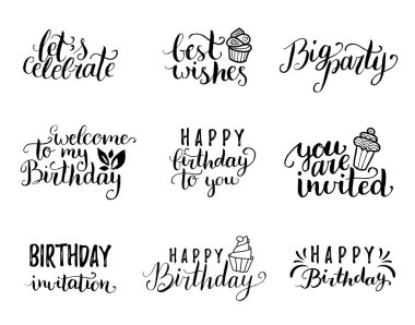 birthday letterings set