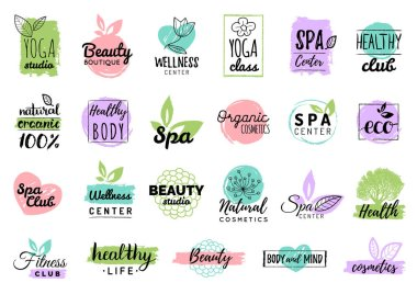 Health and beauty care logos or labels, vector illustration stock vector