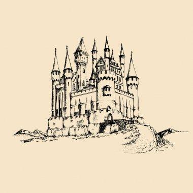 hand-drawn ancient castle