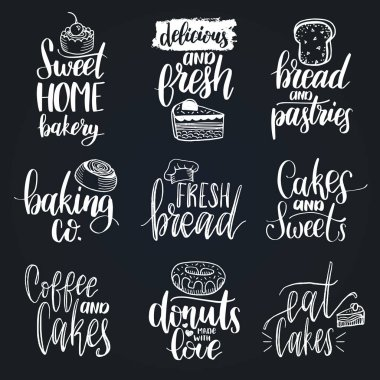 set of bakery hand lettering logos