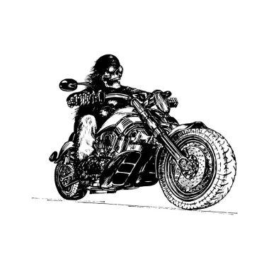 hand drawn skeleton rider on motorcycle
