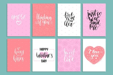 Vector Valentines Day cards templates. Hand written February 14 gift tags, labels or posters collection. Vintage love lettering backgrounds set. stock vector