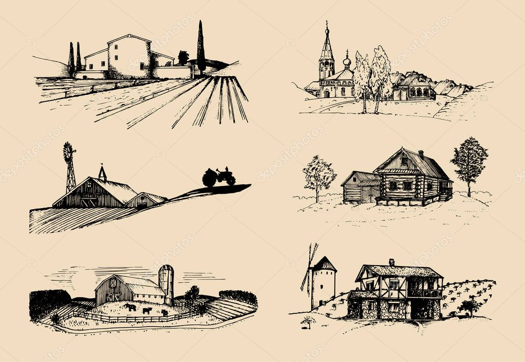 farm landscapes set
