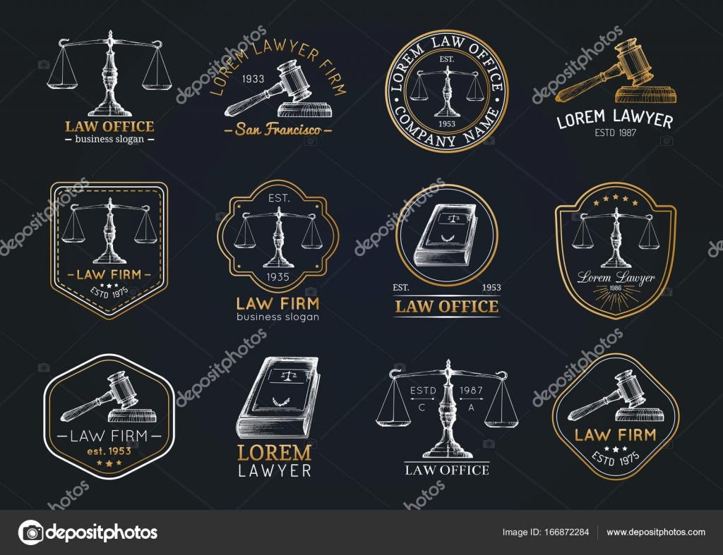 Sammlung Von Vintage Rechtsanwalt Buro Logos Stockvektor