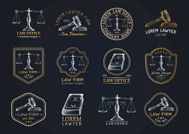 collection of vintage lawyer office logos