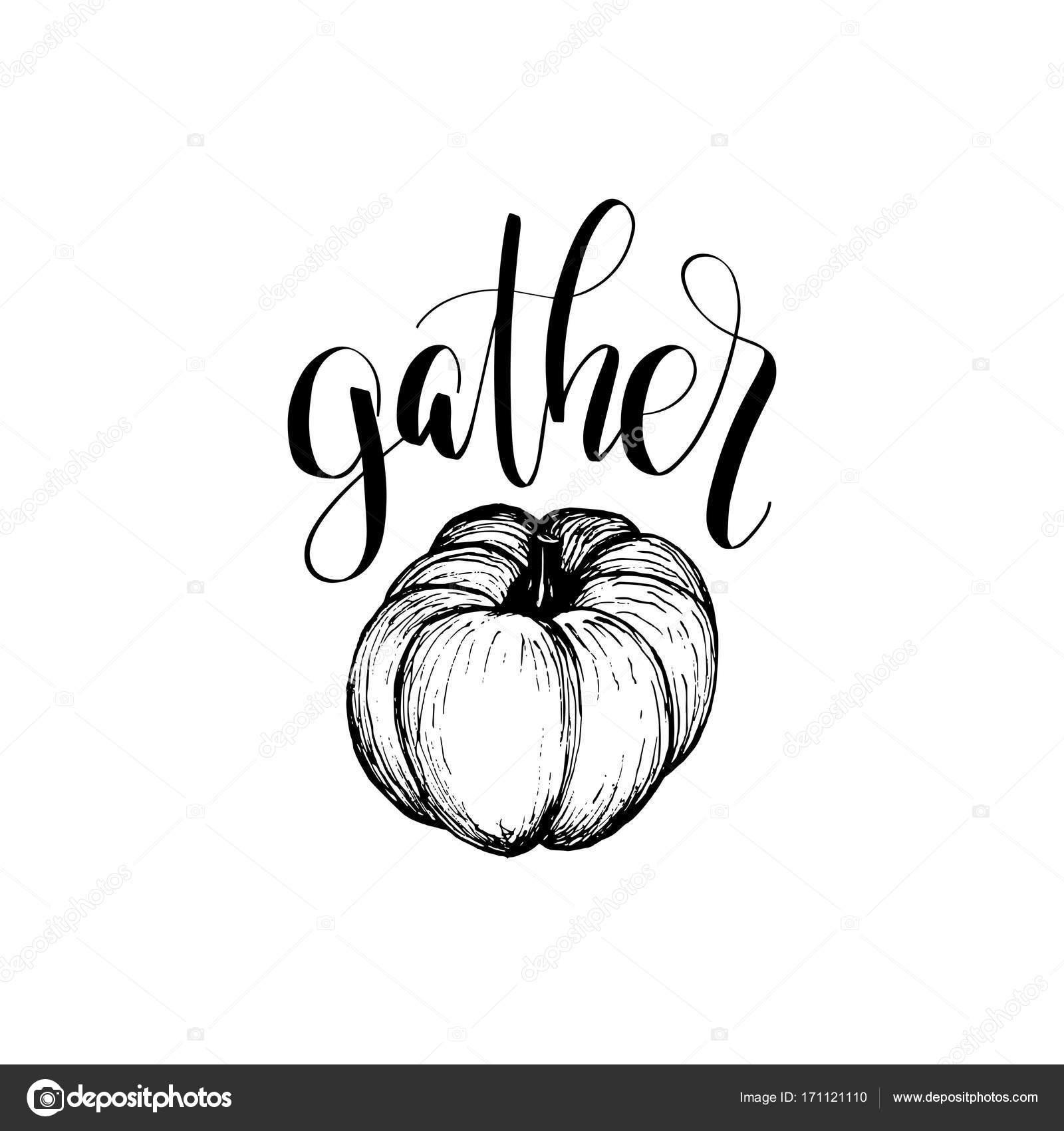 Thanksgiving Kürbis Hand Skizze Illustration für Vorlage Einladung ...