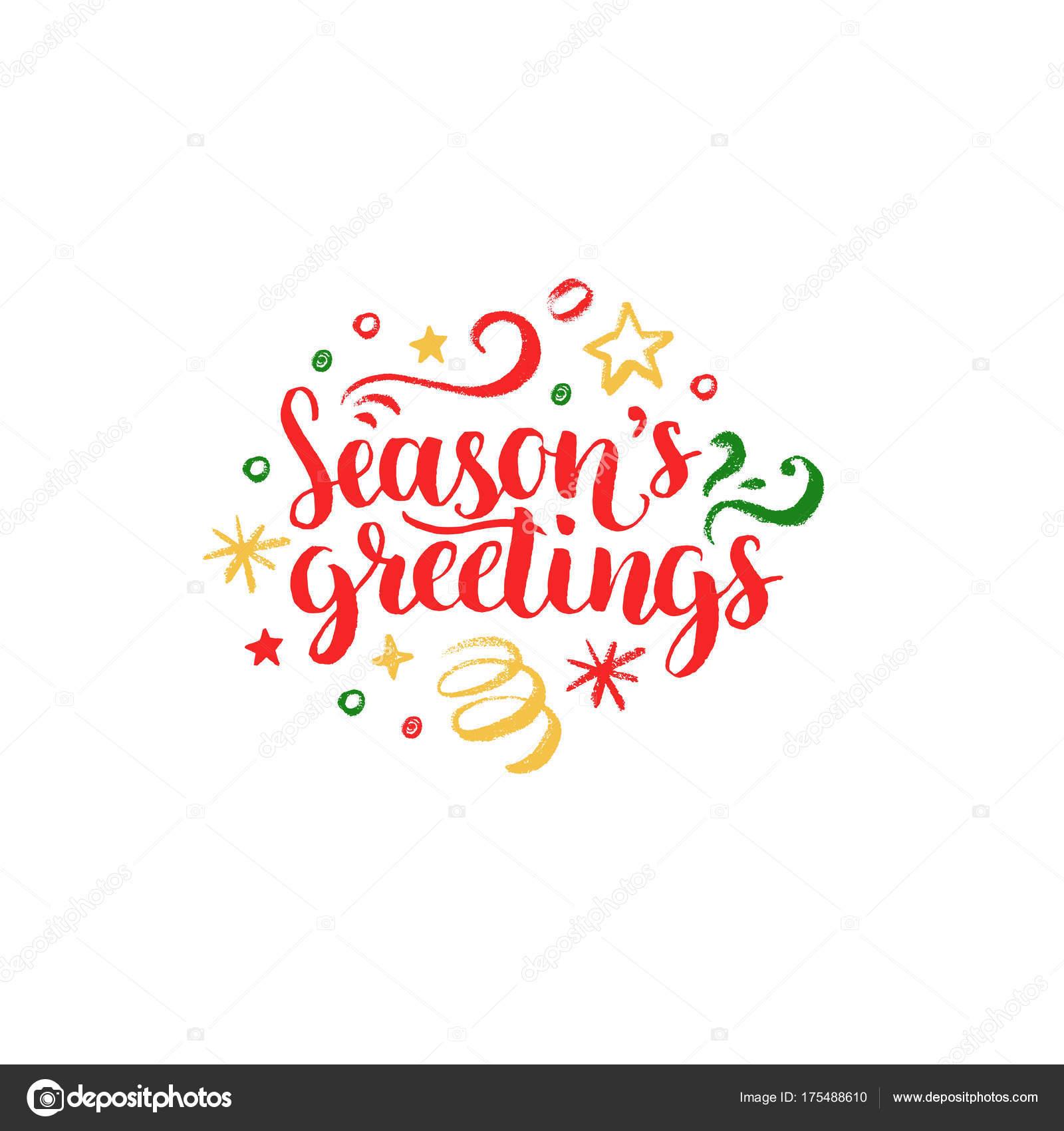 Seasons Greetings Lettering White Background Vector Hand ...