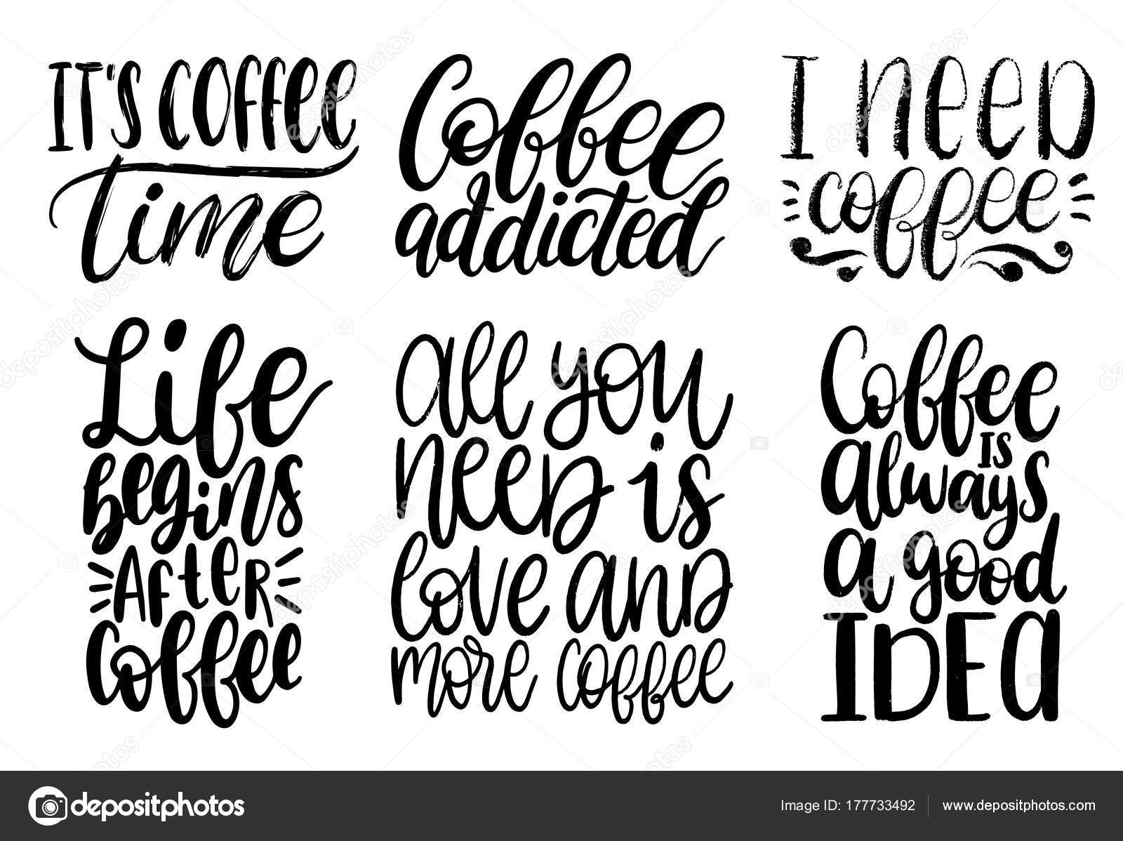 Background Coffee Quotes White Vector Handwritten Coffee Phrases Set Coffee Quotes Typography White Background Stock Vector C Vladayoung 177733492