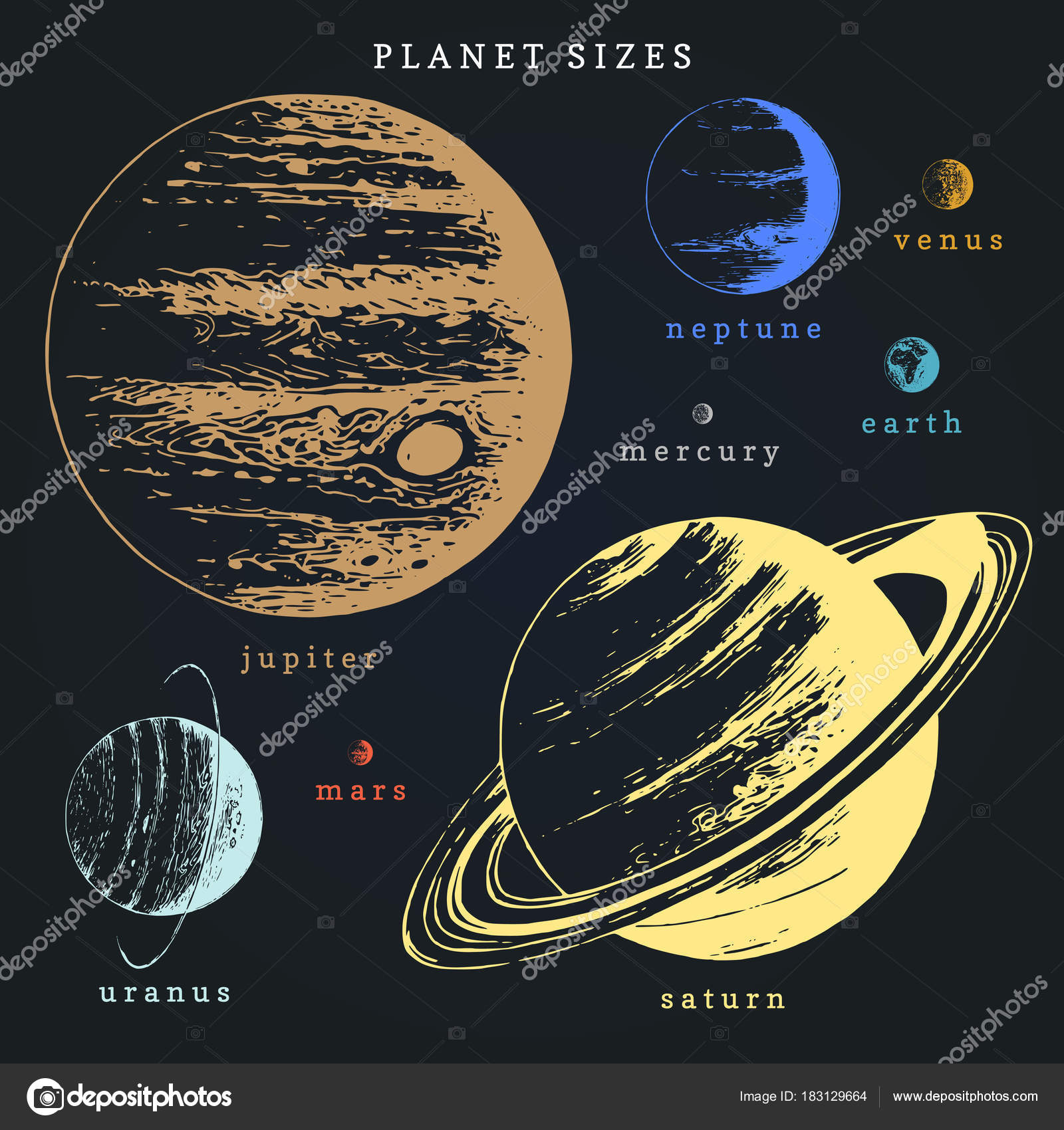 Solar System Color Infographics Vector Hand Drawn Illustration Eight Planets Stock