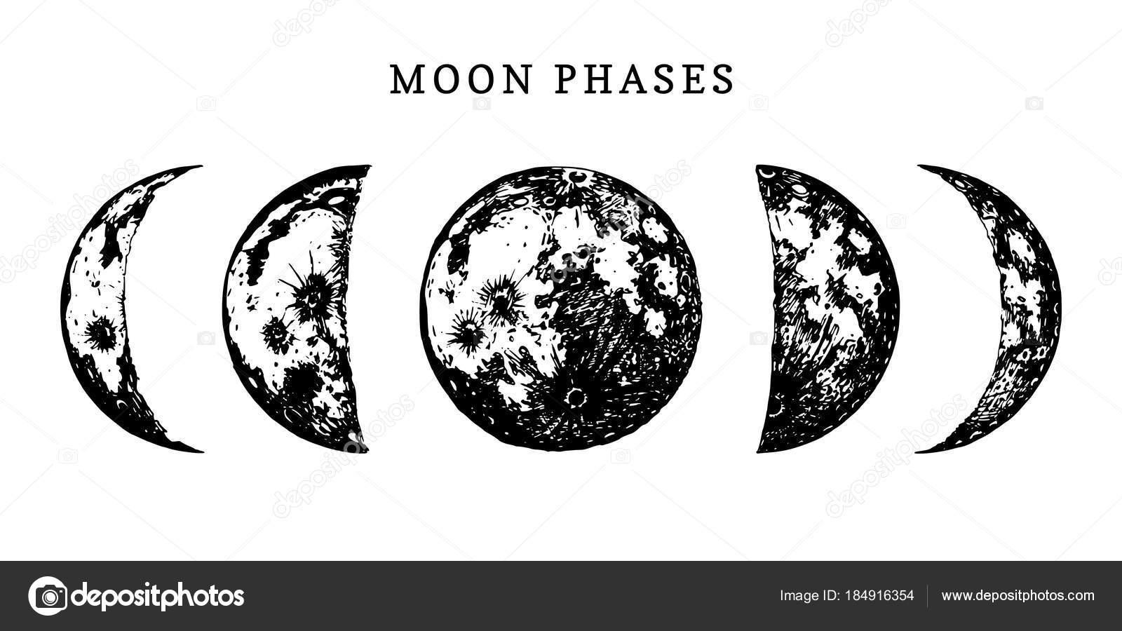 白い背景の上の月の満ち欠けとモノクロ ポスター — ストックベクター