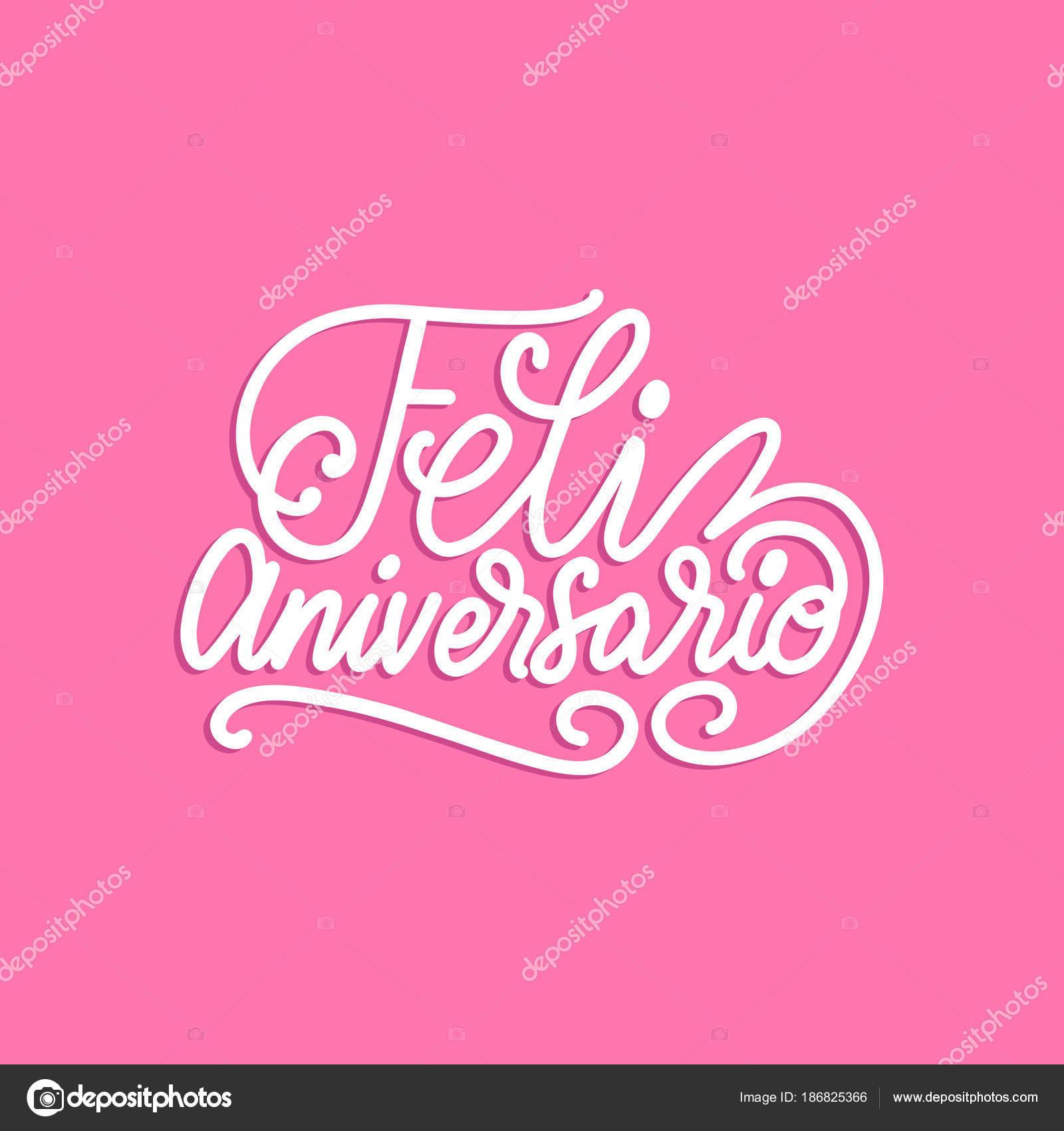 Traduzido Espanhol Manuscrita Frase Feliz Aniversário Fundo Rosa