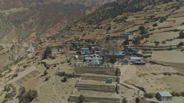 Aerial panorama around lovely secluded Ghyaru village, terraces, stupa,viewpoint