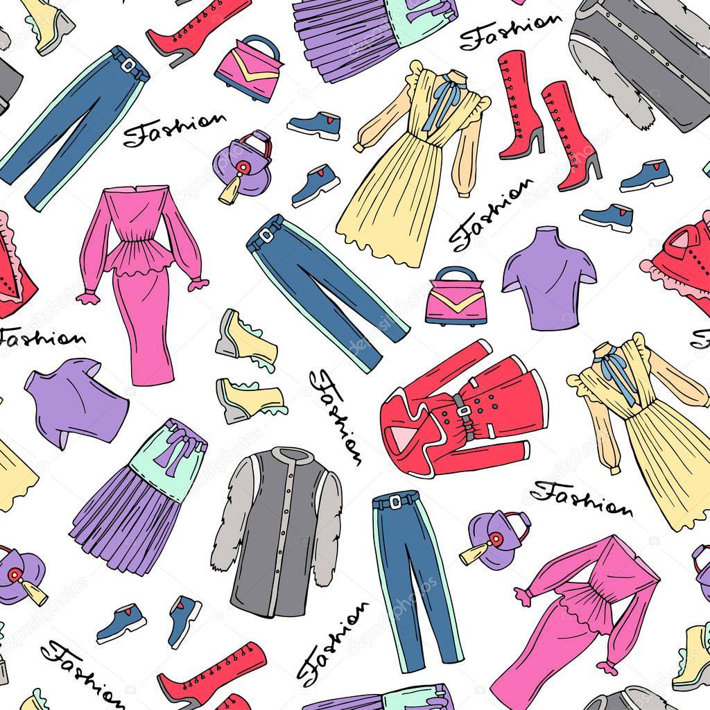 Vzor S Rukou Kreslene Barevne Modni Obleceni Pro Zeny Vzorek Na