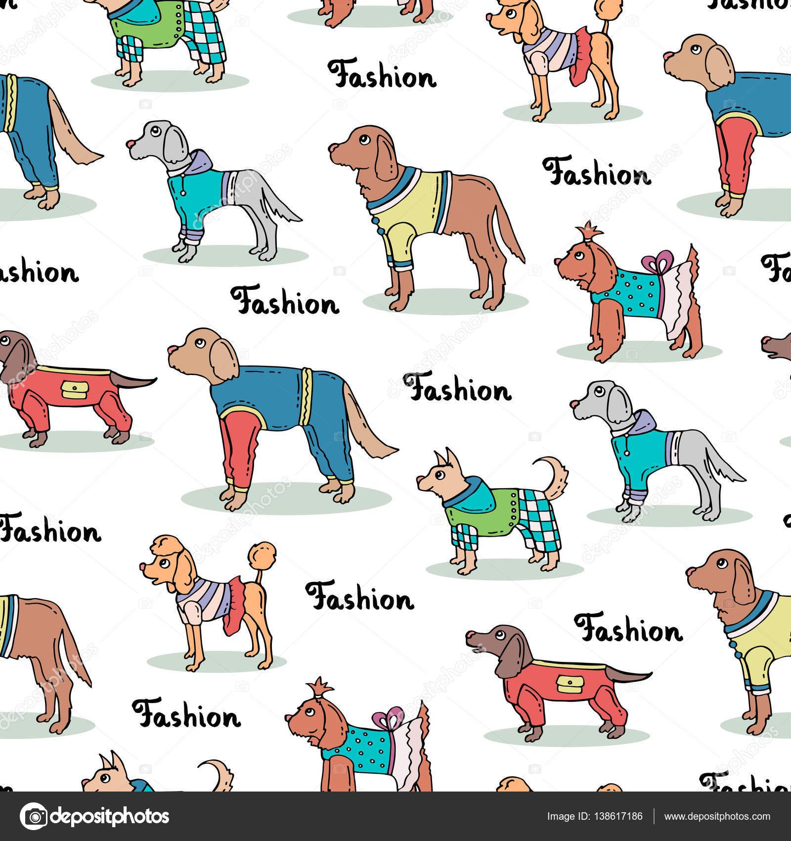 Perros dibujados a color | Patrón transparente de vector con mano ...