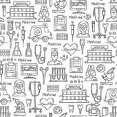 Vector pattern with hand drawn  symbols of hospital, pharmacy on white color. Pattern on the theme of medicine, medical equipment