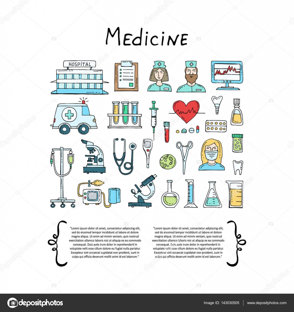 Cover with hand drawn colored symbols of hospital pharmacy set on cover with hand drawn colored symbols of hospital pharmacy on white background set on the theme of medicine medical equipment health biocorpaavc Choice Image