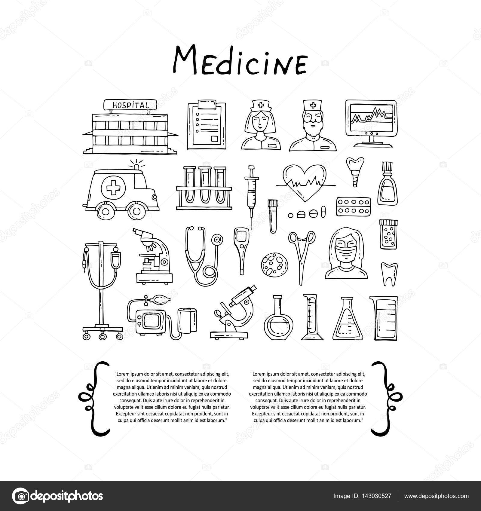 Cover with hand drawn symbols of hospital pharmacy set on the cover with hand drawn symbols of hospital pharmacy on white background set on the theme of medicine medical equipment health vector background for use biocorpaavc Choice Image