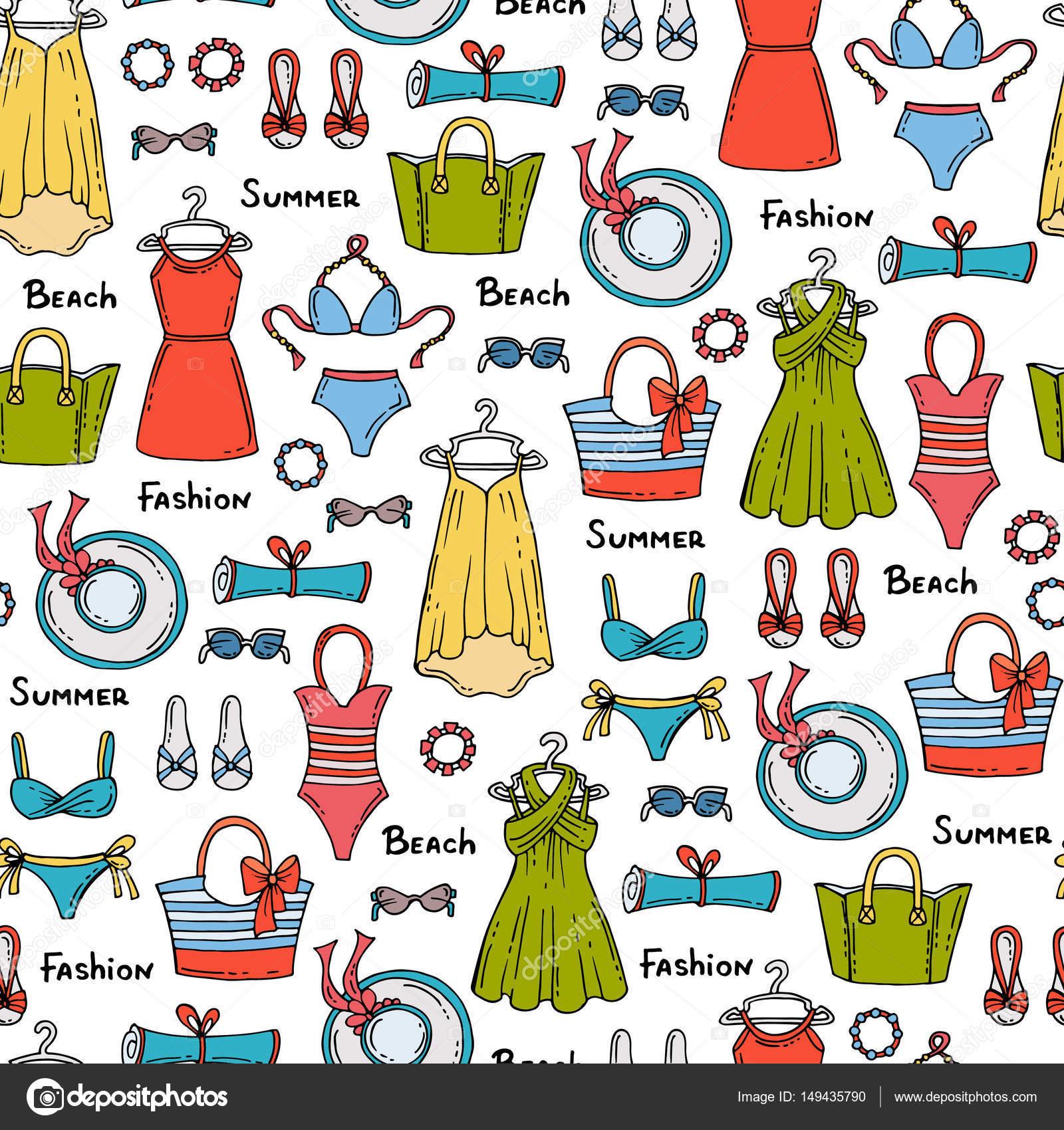 Uso de accesorios para mujer   Patrón con mano alzada coloreada ...