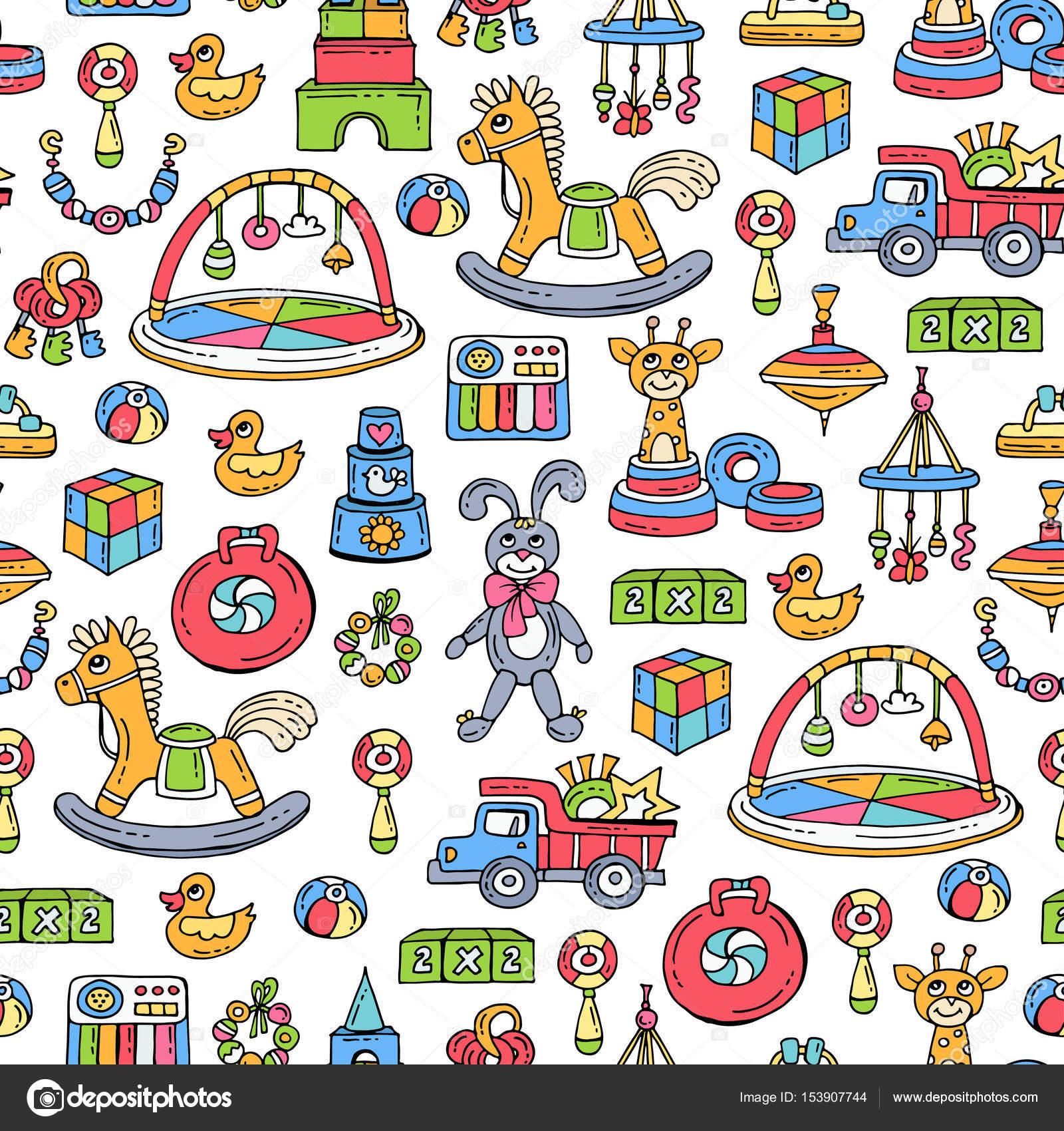 patrn de vector con mano dibujado color juguetes para nios y nias patrn sobre el tema de juegos para nios fondo para el uso en diseo