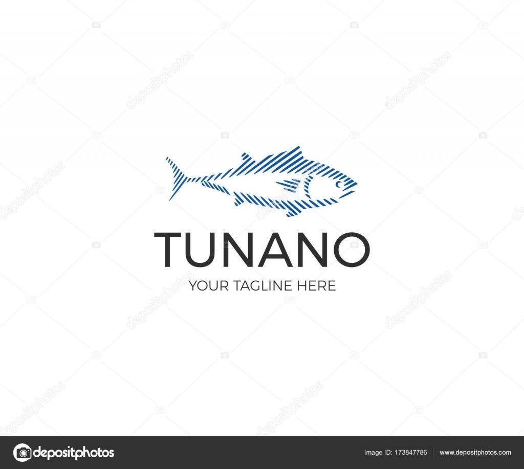 Lineare Thunfisch Logo Vorlage. Sport-Fischerei-Vektor-Line-Design ...