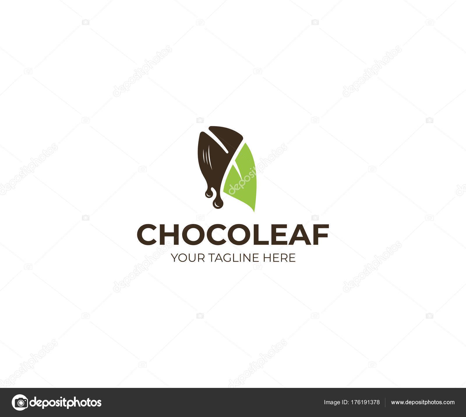 Plantilla Logotipo Hoja Chocolate Diseño Vectorial Confitería ...