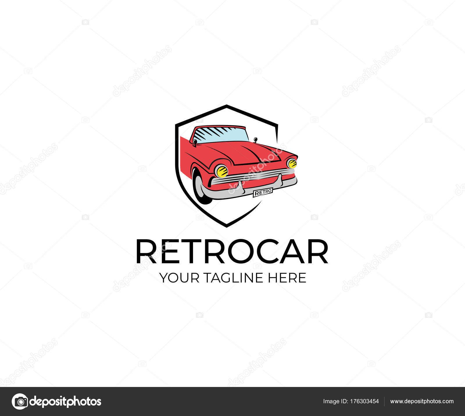 Plantilla Logotipo Coche Retro Diseño Vector Transporte ...