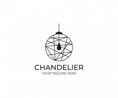 Chandelier Logo Template. Luminaire Vector Design. Lustre Illustration