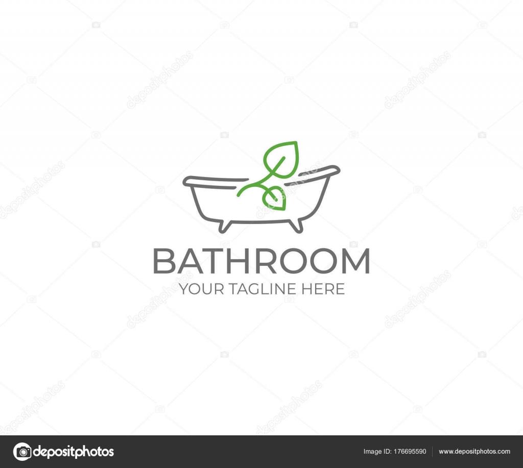 Baño Hoja Logo Plantilla Baño Diseño Del Vector Ilustración Bañera ...