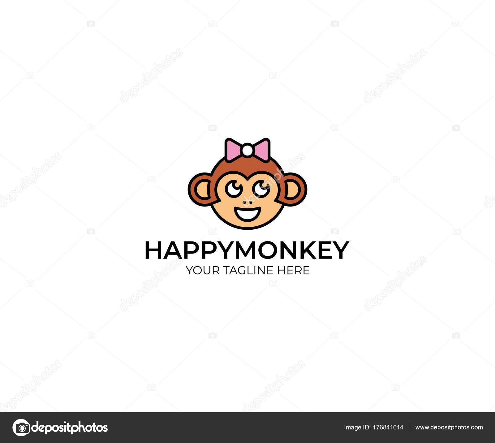 Affe Logo Vorlage Lustige Affen Vektor Design Tierische Illustration ...