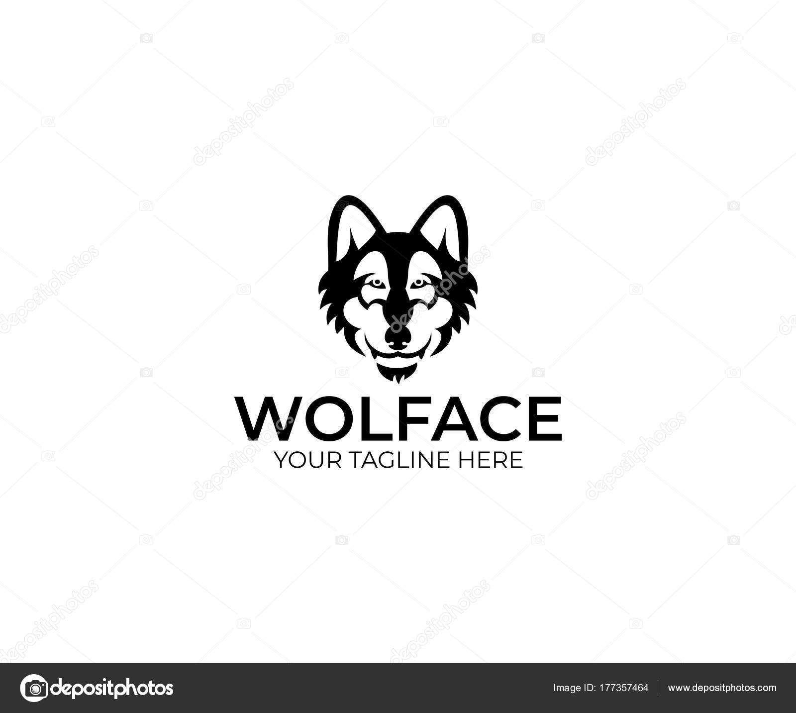 wolf face logo template animal vector design predator illustration