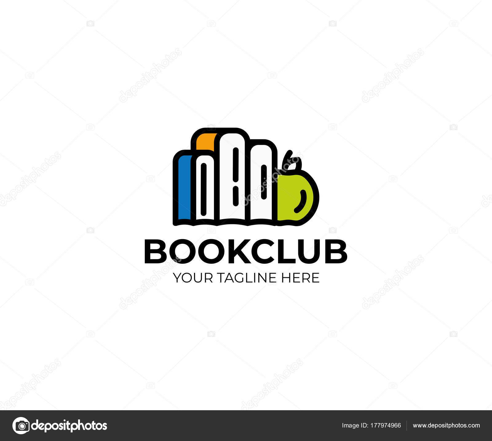 Buch Und Apple Logo Vorlage Farbige Bücher Vectore Design Bildung ...