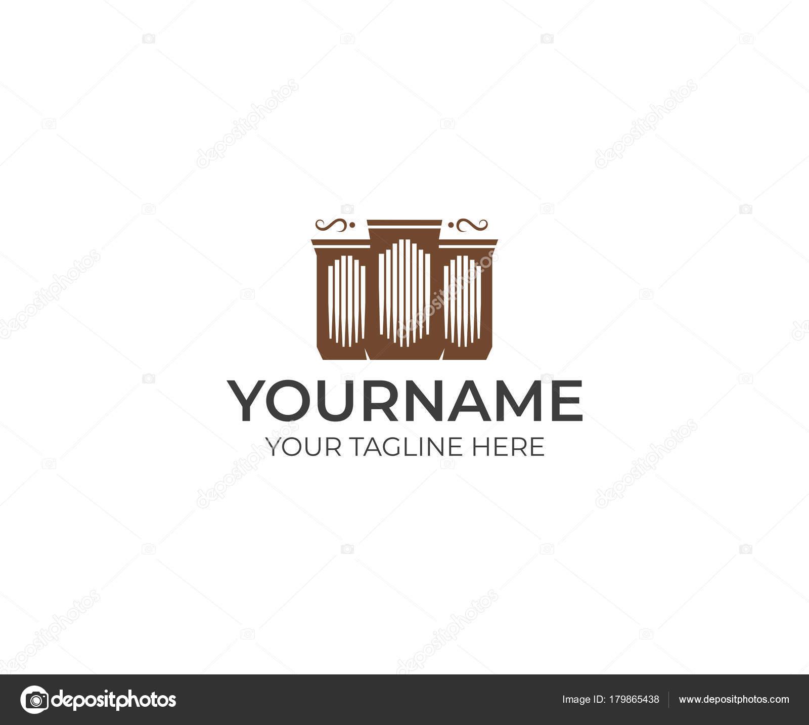pipe organ logo template musical instrument vector design musical