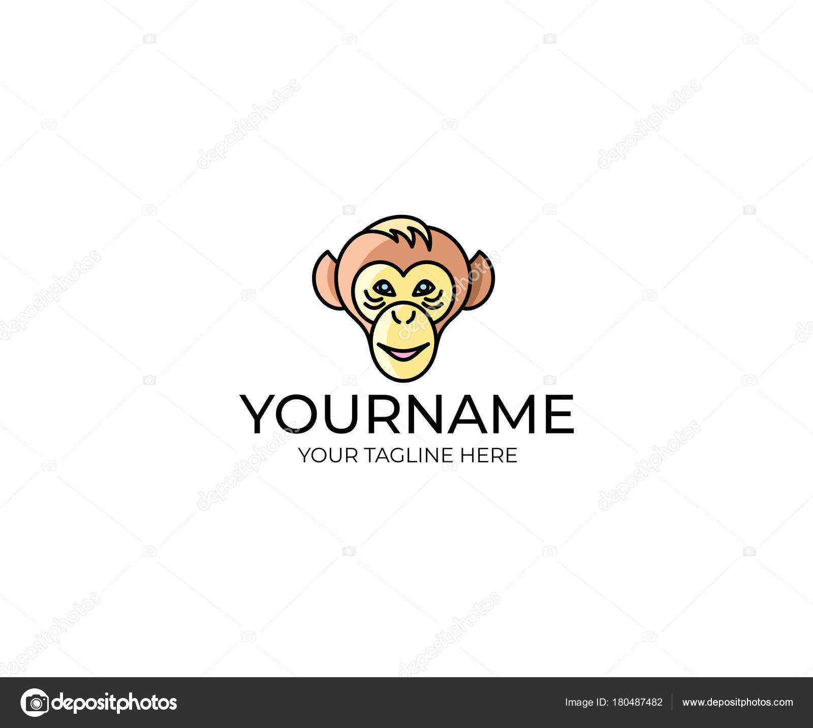 Affe Gesicht Logo Vorlage Schimpansen Vektor Design Tierische ...