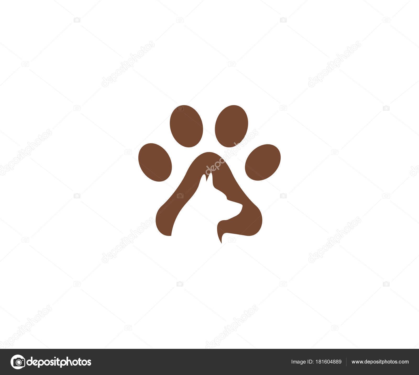 Dog Paw Logo Template Pet Vector Design Animal Illustration — Stock ...