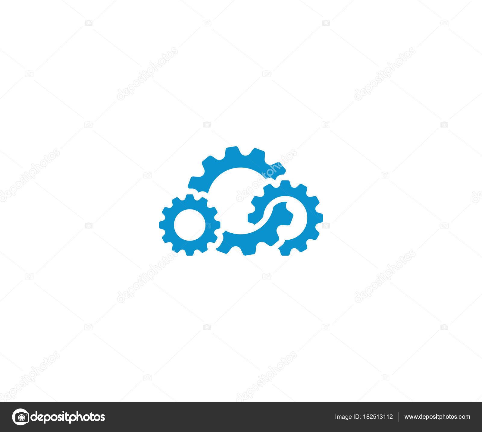 Wolke Getriebe Logo Vorlage Cloud Computing Vektor Design Zahnrad ...