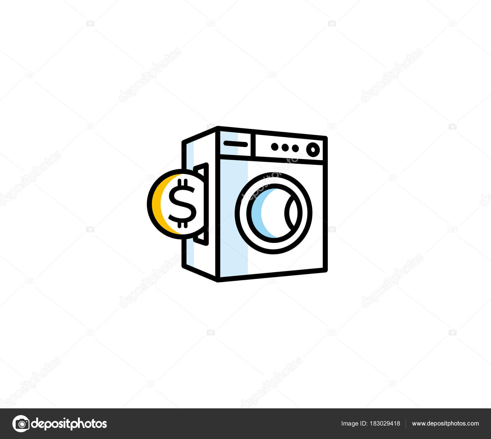 concept washing machine coin logo template paid public laundry