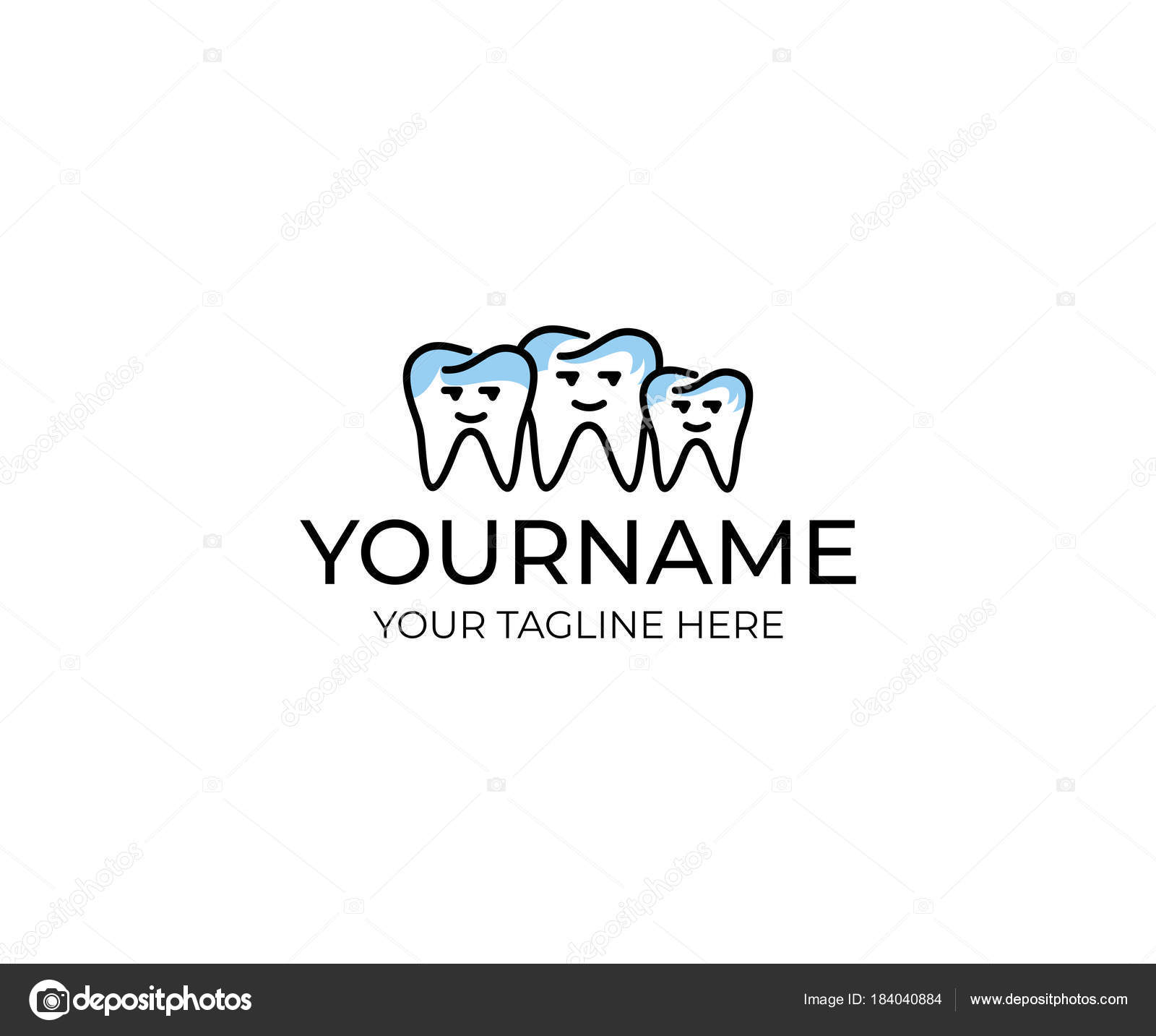 Tooth Family Logo Template Dental Cartoon Character Vector Design