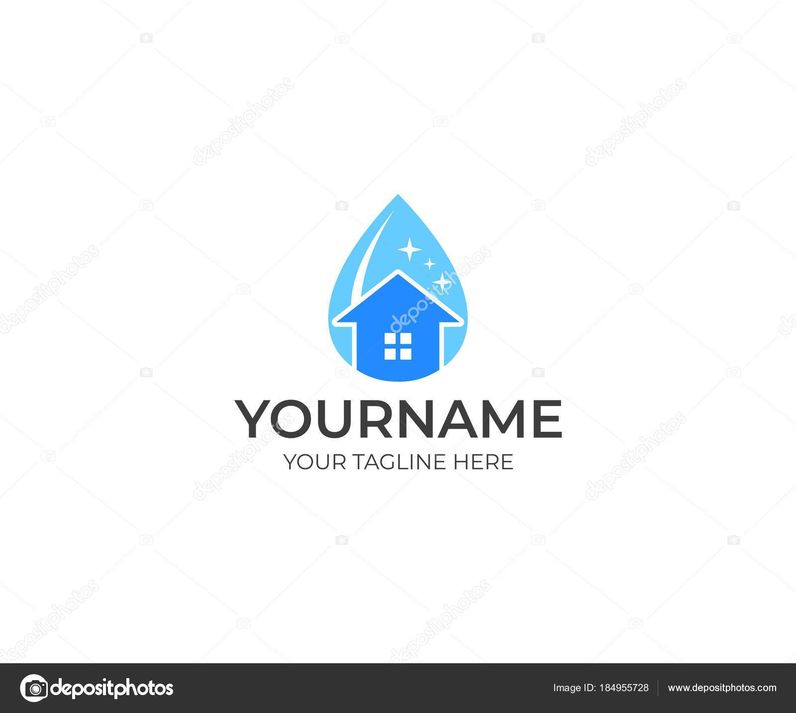 Reinigung Und Haus Einem Tropfen Wasser Logo Vorlage Reinigung ...