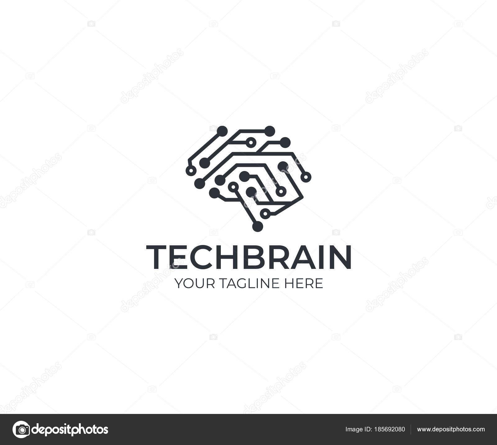 modelo logotipo circuito cerebral desenho vetor intelig u00eancia artificial humano ilustra u00e7 u00e3o
