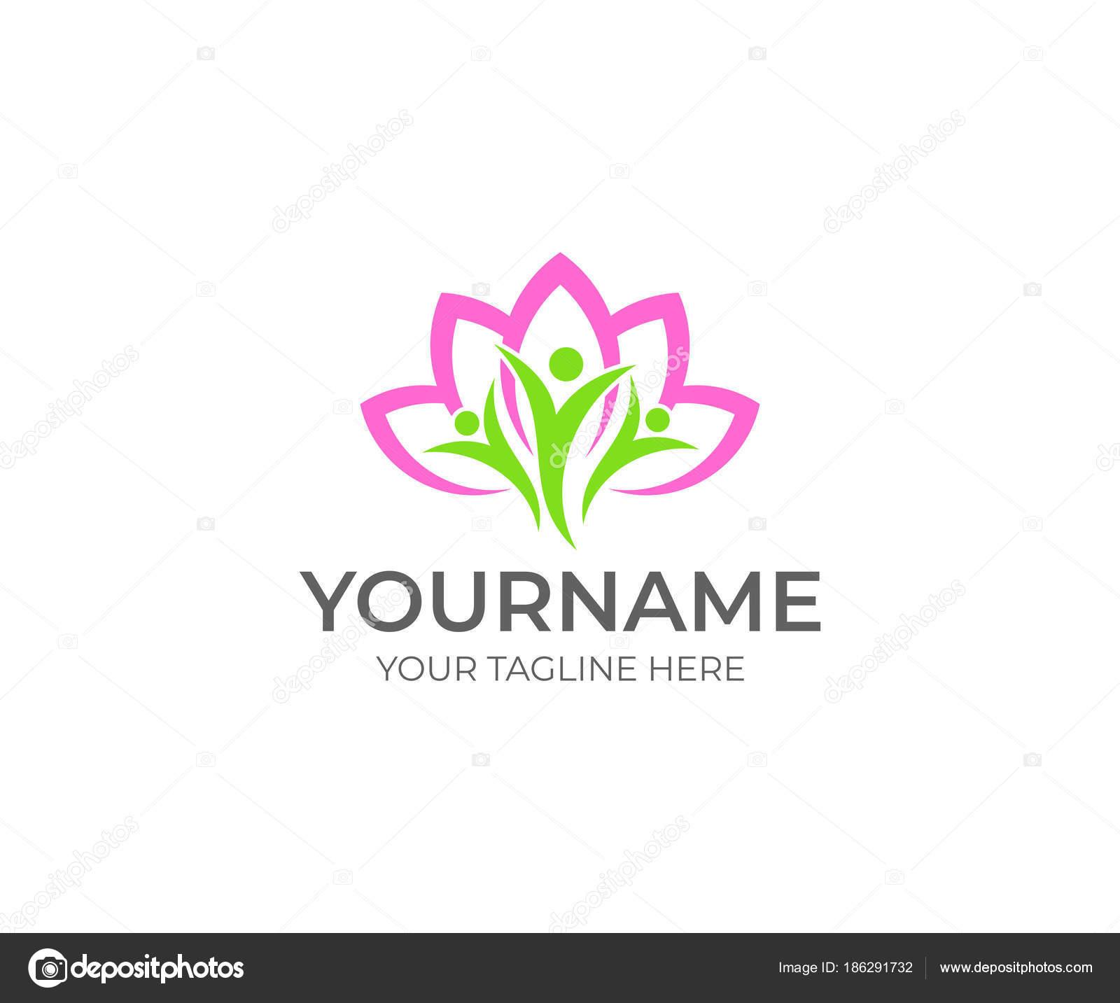 Lotus Flower Happy People Logo Template Beauty Spa Salon Vector