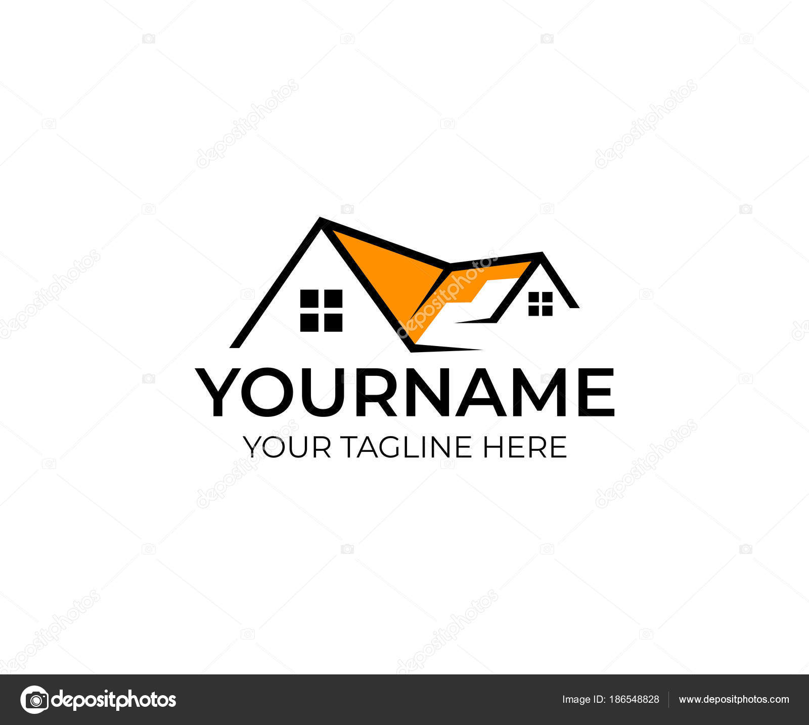 house real estate logo template home window building roof property