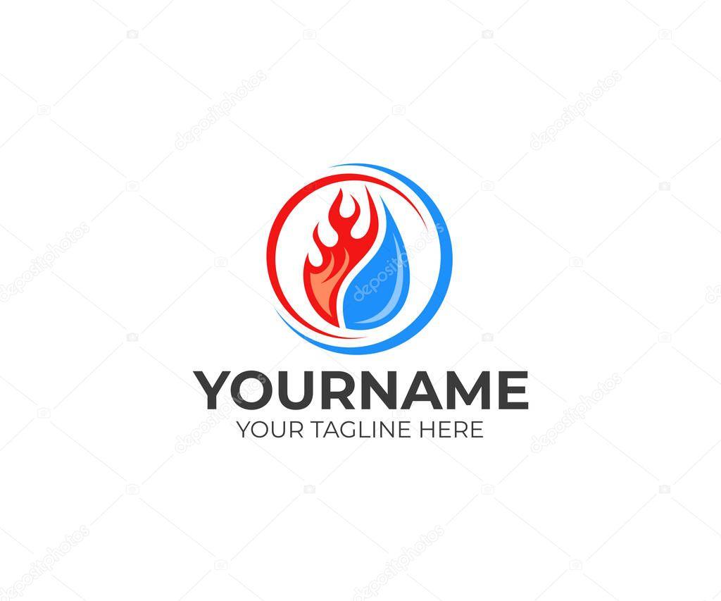 Flamme Goutte Eau Climatisation Chauffage Descripteur Logo ...