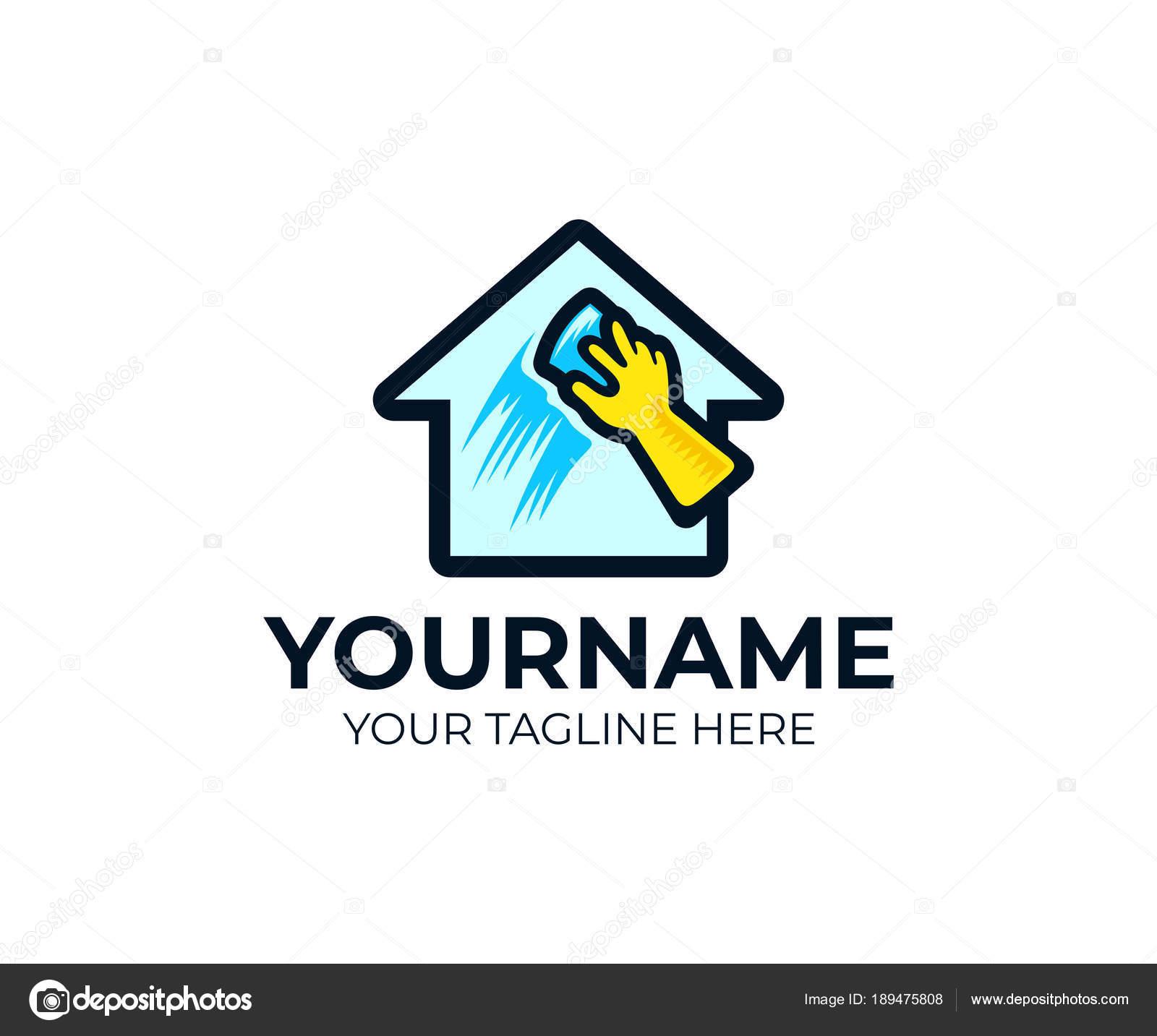 Haus Reinigung Und Waschen Fenster Logo Handschablone Haus Reinigen ...
