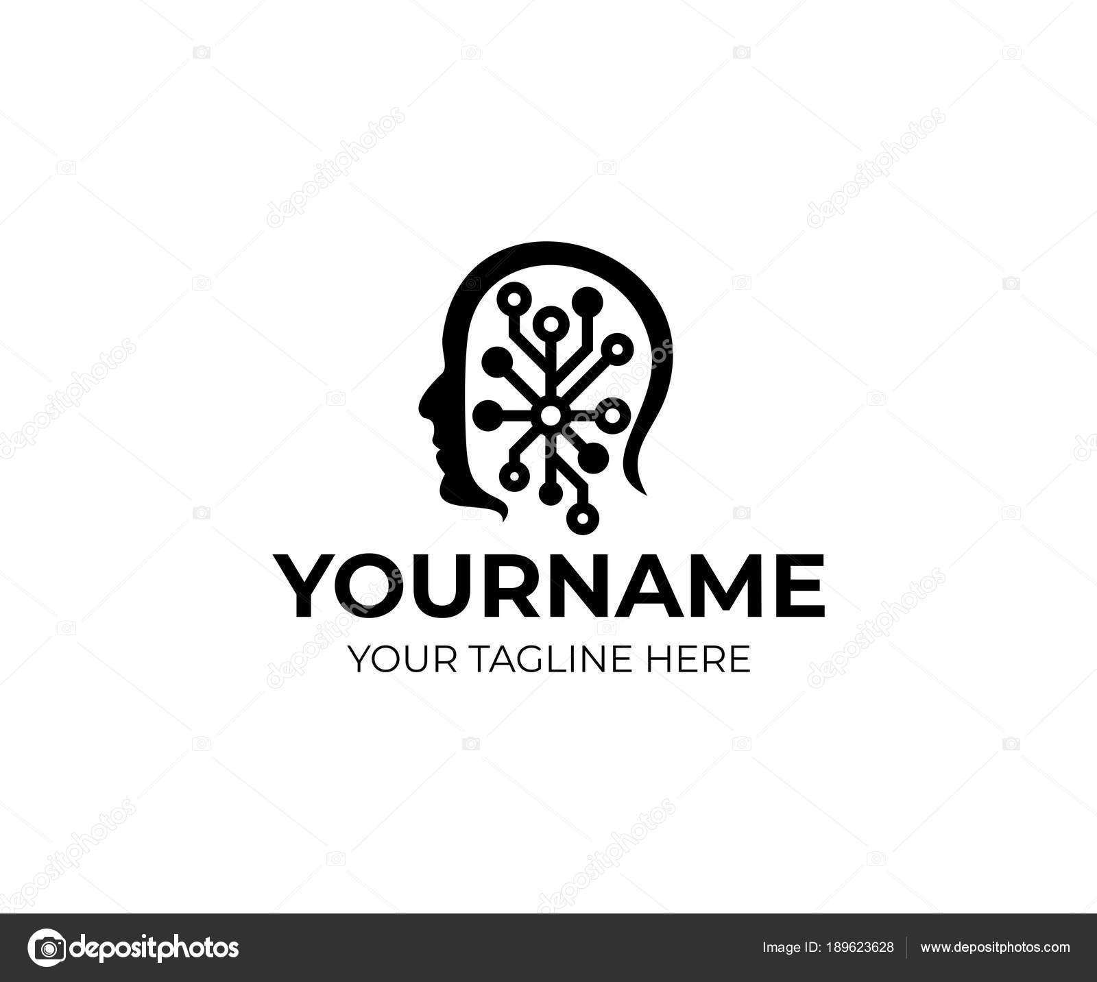 man head artificial intelligence logo template human face circuits electronics  u2014 stock vector
