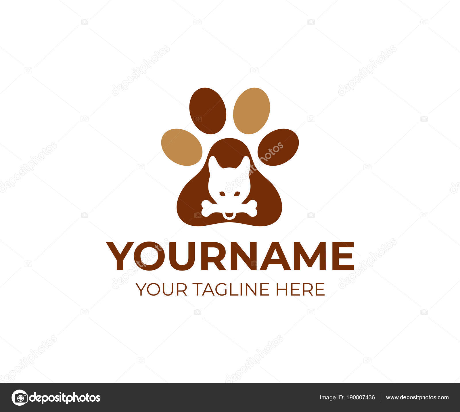 Dog Bone His Teeth Dog Paw Logo Template Pet Dog — Stock Vector ...