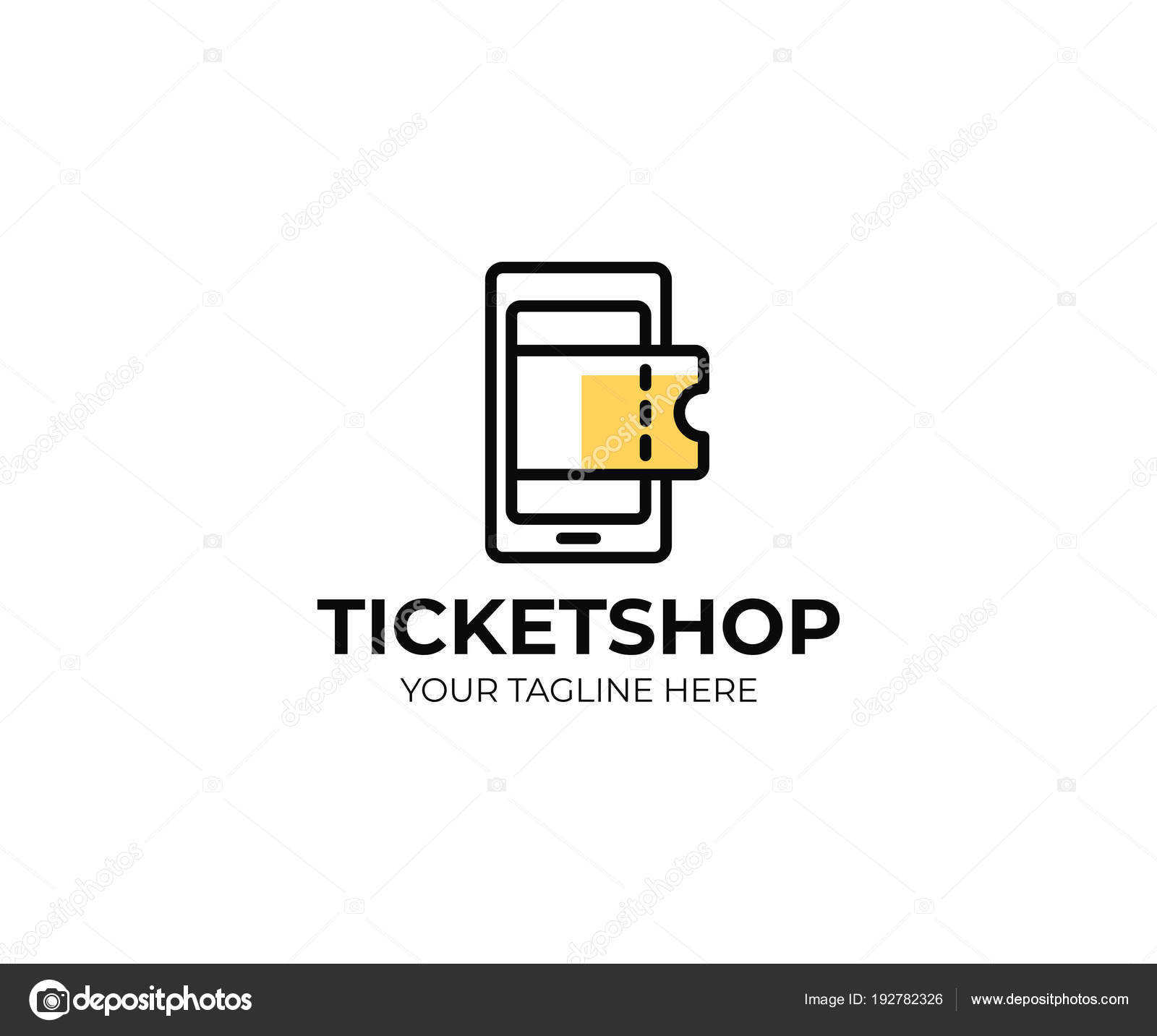 online ticket shop logo template mobile phone tickets vector design