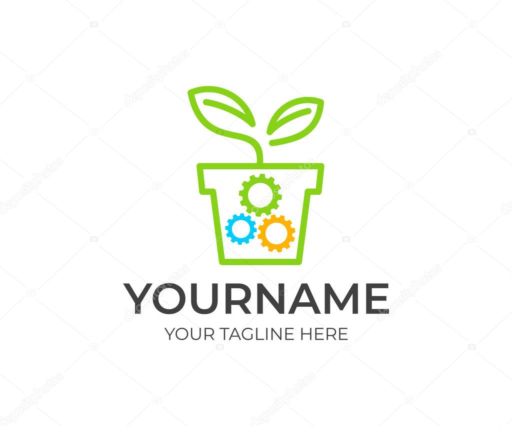 Sprout in flower pot and gears, logo template. Ecological mechanical gear, bio technology, business growth and agriculture industry, vector design. Eco technology and environment, illustration