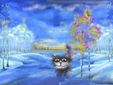 Black cat in winter landscape