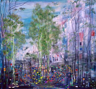 """Картина, постер, плакат, фотообои """"Зеленый березы на абстрактных город"""", артикул 179412060"""