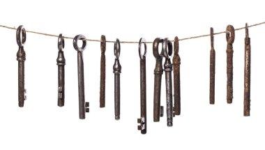 Vintage. Old, rustic keys on a white background